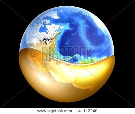 A globe swimming in Oil or Petrol. 3D rendered illustration.