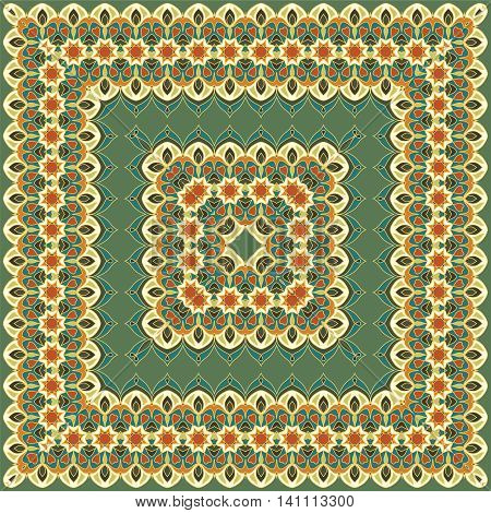 Green colored handkerchief with abstract pattern silk scarf or shawl.