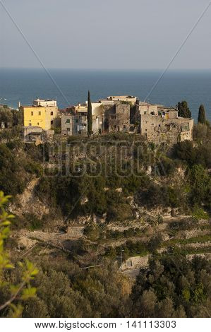 This photo represents a vertical shot of the old town of Varigotti Italian Riviera Italy with a wonderful sea view.