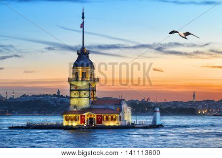 Maiden's Tower in Bosphorus at sunset. Istanbul, Turkey
