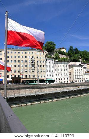 View on the city of Salzburg Austria Europe.