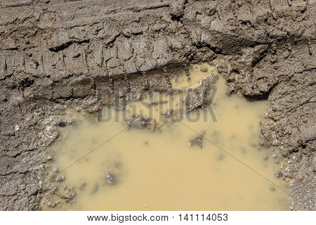 Texture of wet brown mud with car tyre tracks