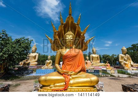 Buddha Statue At Wat Phai Rong Wua, Suphanburi
