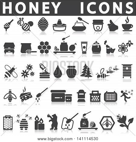 honey icons on a white background with a shadow