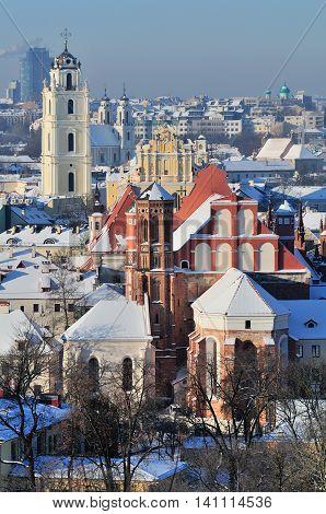 Vilnius old town cityscape on winter morning