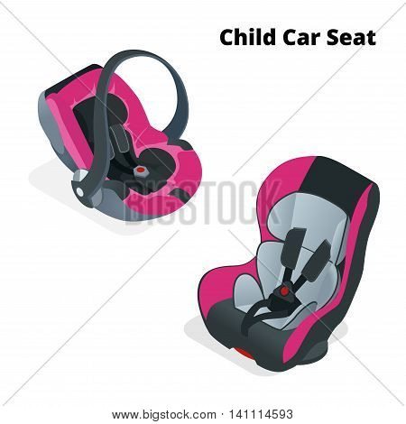 Safety Car seat for baby and kid, isolated on white background. Flat 3d vector isometric illustration. Car seat 3 in 1 and group 0.