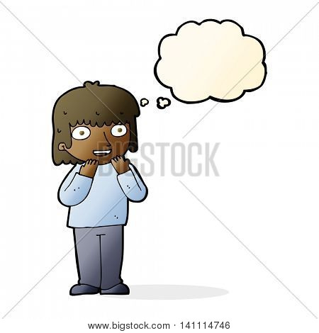 cartoon excited person with thought bubble