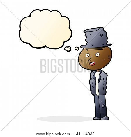 cartoon funny hobo man with thought bubble