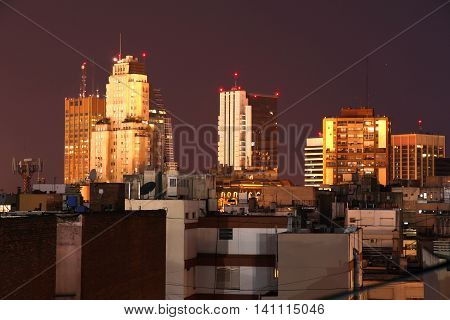 The nightly skyline of Buenos Aires. Digital photo.