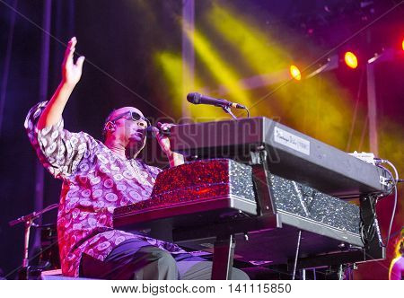 Musician Stevie Wonder performs onstage during day 1 of the 2015 Life Is Beautiful Festival on September 25 2015 in Las Vegas Nevada.