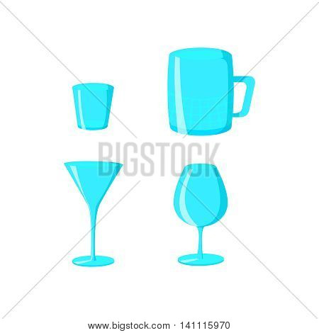 Set of glasses goblets, vector icon. Glasses isolated on white background