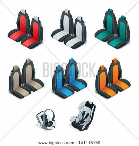Modern set of car seat icons. Editable automotive collection. Vector isometric 3d flat illustration. Safety Car seat for baby and kid