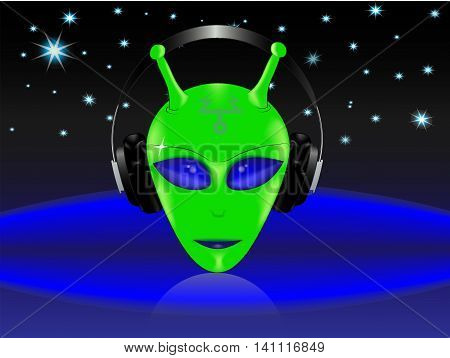 green humanoid with headphones on a background of starry space. EPS 10