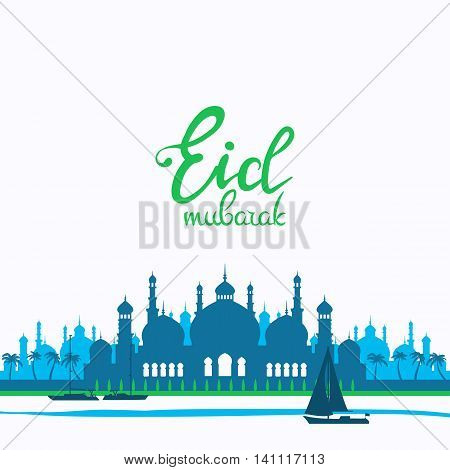 Eid mubarak poster. Illustration of Ramadan Kareem with Arabic mosque and the sea with boats for the celebration of Muslim community festival. Free hand write with a floral frame specially for Ramadan