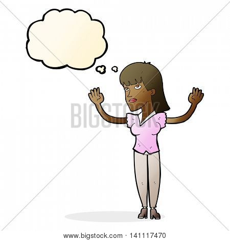 cartoon woman throwing hands in air with thought bubble