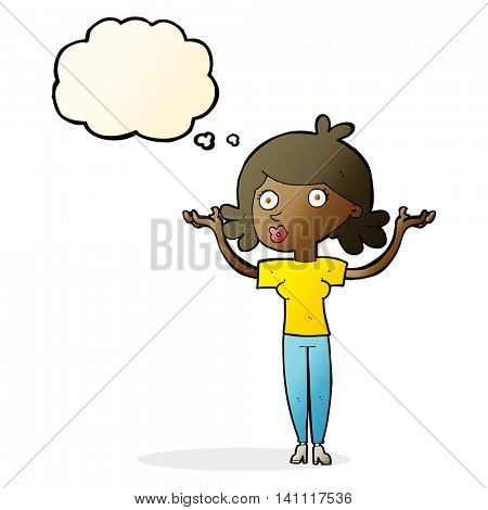 cartoon woman throwing arms in air with thought bubble