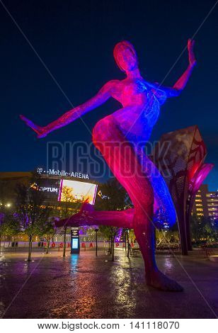 LAS VEGAS - JUNE 14 : The T-Mobile arena and the Bliss Dance sculpture in Las Vegas on June 14 2016. The arena is located west of the Las Vegas Strip and has 20000 seat capacity