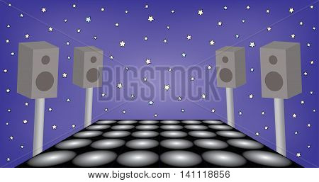 Illustration of futuristic space for dance night party