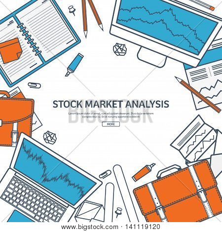 Line art.Vector illustration. Flat background. Market trade. Trading platform , account. Moneymaking, business. Analysis. Investing.