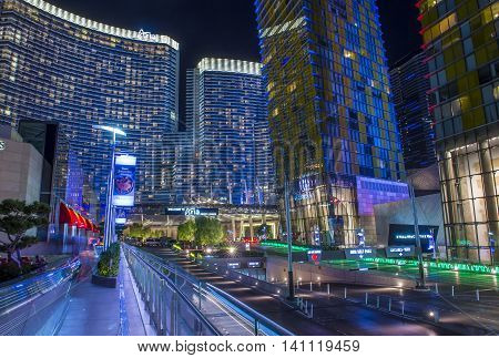 LAS VEGAS - JUNE 14 : The Las Vegas City Center on June 14 2016. This mixed-use complex 76 acres opened 2010 and was the largest privately funded construction project in USA.