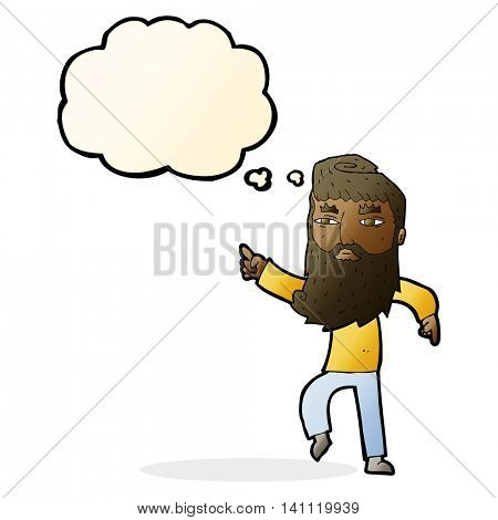 cartoon bearded man pointing the way with thought bubble