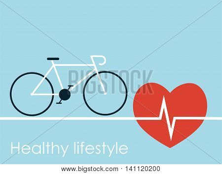 Healthy lifestyle cicle and big red heart with cardiogram. Vector illustration
