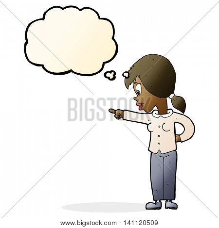 cartoon enthusiastic woman pointing with thought bubble