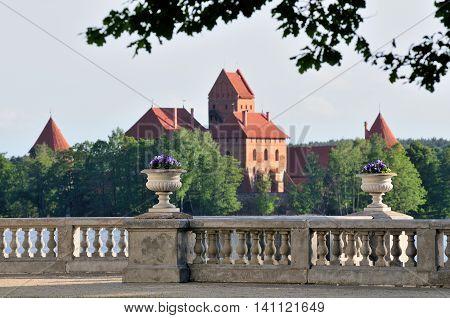 Trakai Castle and park in Trakai town, Lithuania