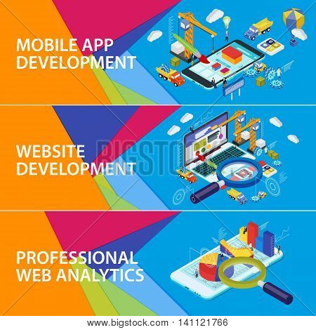Flat 3d isometric smartphone and laptop. Set banners. Mobile app development. Website development. Infographics and SEO analytics Futuristic virtual graphic user interface. Material design banners