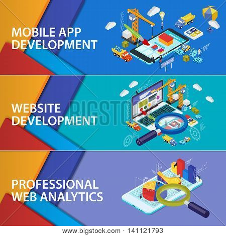 Flat 3d isometric smartphone and laptop. Material design banners. Mobile app development. Website development. Infographics and SEO analytics Futuristic virtual graphic user interface. Set banners