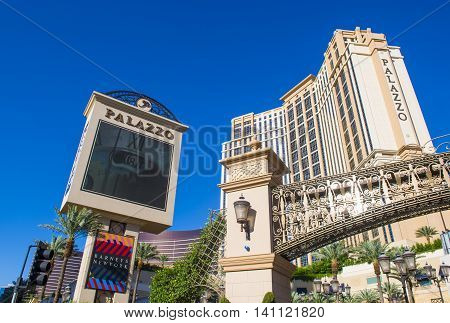 LAS VEGAS - MAY 21 : The Palazzo hotel and Casino in Las Vegas on May 21 2016. Palazzo hotel opened in 2008 and it is the tallest completed building in Las Vegas