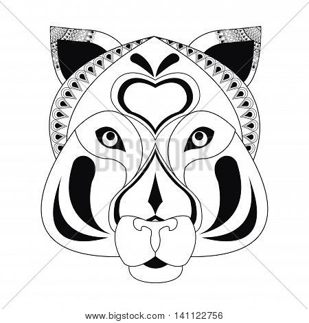 flat design tribal feline icon vector illustration