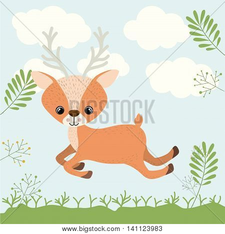 reindeer cute woodland icon vector isolated graphic