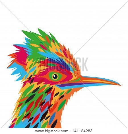flat design colorful woodpecker drawing icon vector illustration