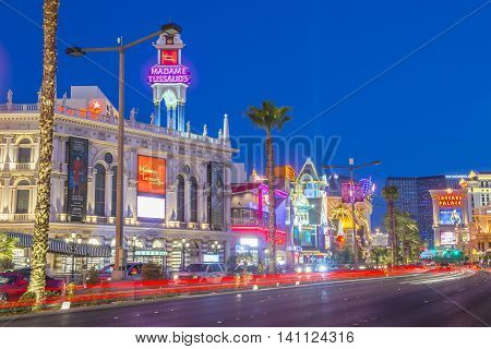 LAS VEGAS - JUNE 22 : View of the strip in Las Vegas on June 22 2016. The Las Vegas Strip is an approximately 4.2-mile (6.8 km) stretch of Las Vegas Boulevard in Clark County Nevada.