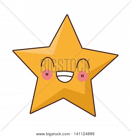 flat design kawaii star icon vector illustration