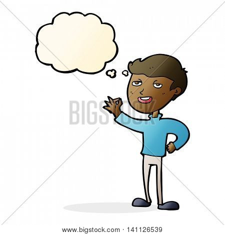 cartoon man making excellent gesture with thought bubble