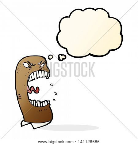 cartoon furious man shouting with thought bubble