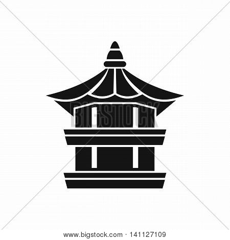 Traditional korean pagoda icon in simple style isolated on white background