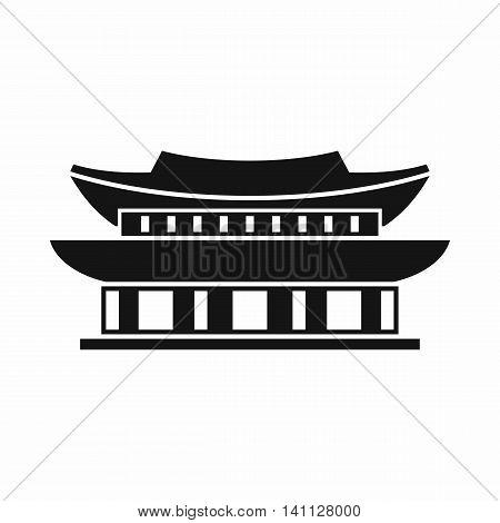 Gyeongbokgung palace, symbol of Seoul icon in simple style isolated on white background