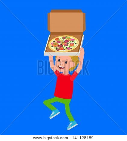 Cute vector character. Cheerful child. Happy kid boy with pizza