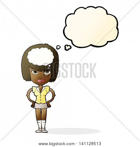 cartoon woman thinking with thought bubble