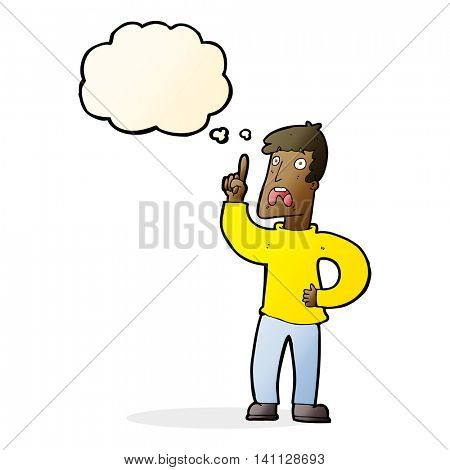 cartoon man with complaint with thought bubble