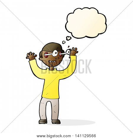 cartoon man with eyes popping out of head with thought bubble