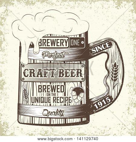Vintage t-shirt graphic design,  grange print stamp, Craft beer typography emblem with wooden beer mug, Brewery logo Creative design, Vector