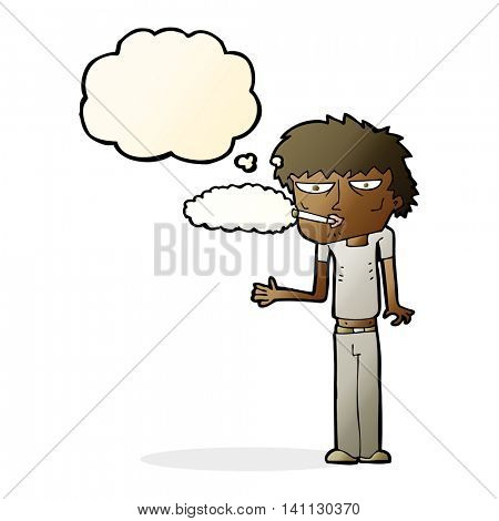 cartoon smoker with thought bubble
