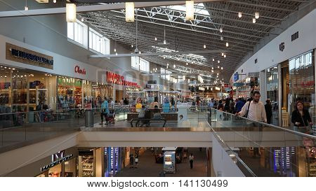 ELIZABETH, NJ - JUL 15: The Mills at Jersey Gardens in Elizabeth, New Jersey, as seen on July 15, 2016. It is the largest outlet mall in New jersey and is completely indoors.