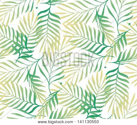 Exotic leaves tropical forests. Seamless pattern. Tropical palm tree leaves background. Vector Background.