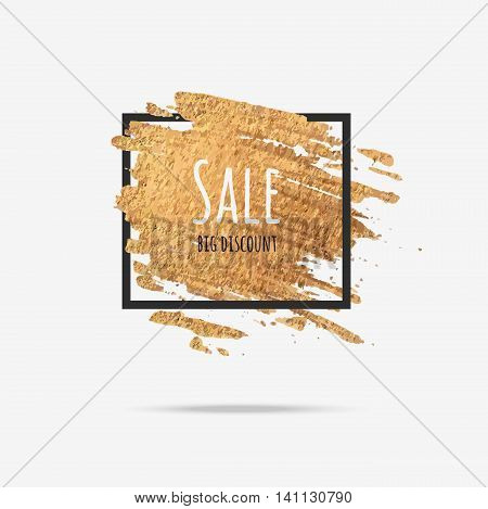 The text sale on gold background foil. Gold background for a flyer poster for sale sign discounts marketing sales banner web header. Abstract golden background for the text quotes.