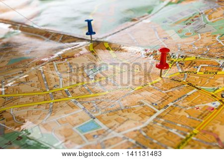 Travel journey consept, sights destination marked by pin on the map of Lviv Ukraine. Copy space for text.